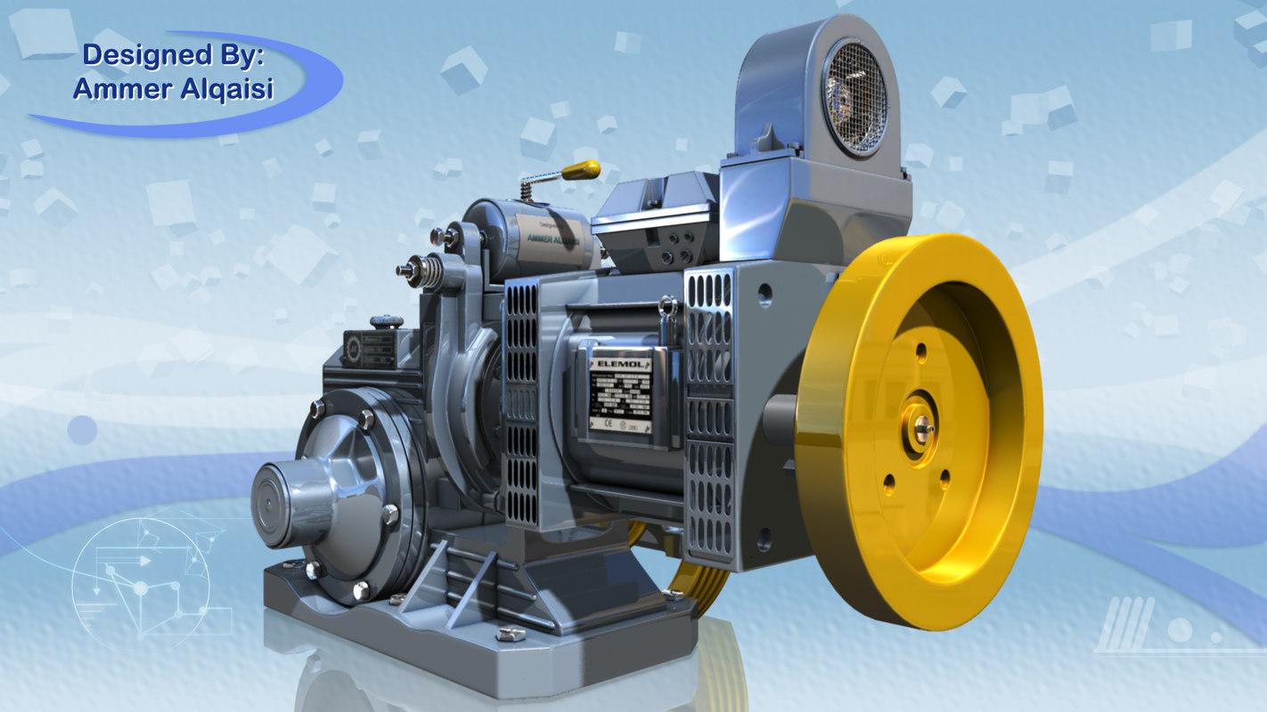 3d elevator motor model