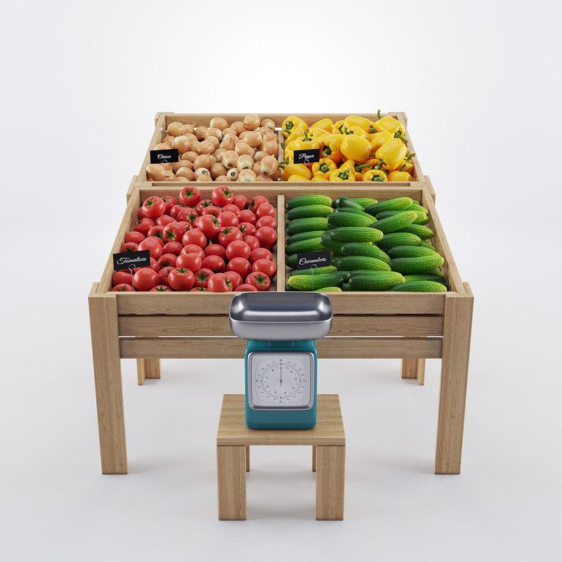 3d model vegetables showcase