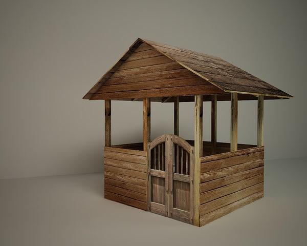 wooden shed 3d model
