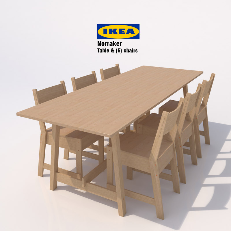 3d Model Ikea Norraker Chairs Table Wood