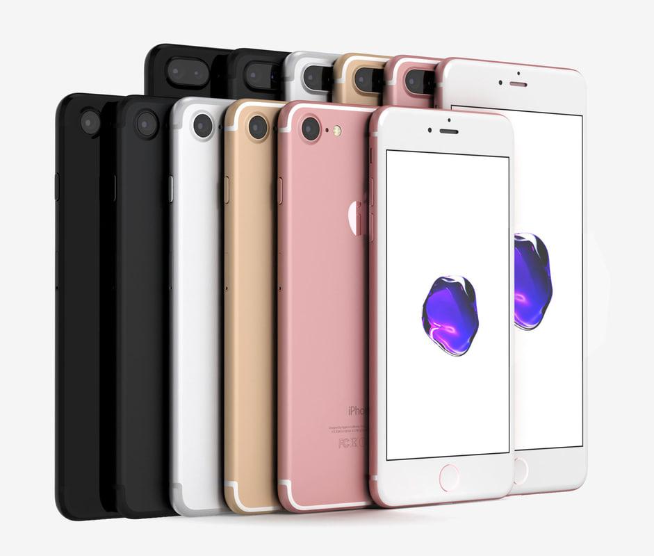 apple iphone 7 colors 3d model