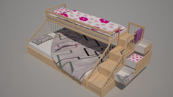 bunk bed 3d 3ds