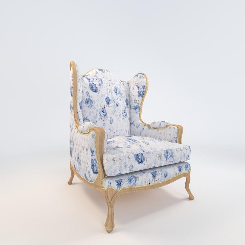 3d maintenon armchair chair
