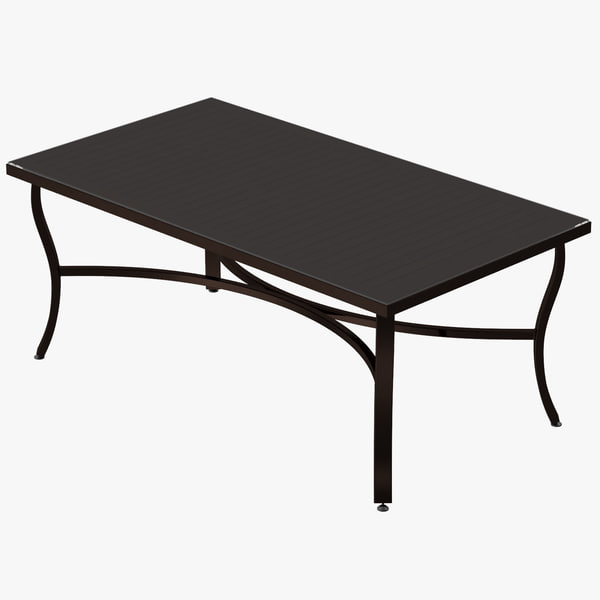 3d patio coffee table square model