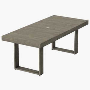 3d model patio dining table rectangle