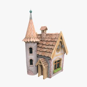 3d stylized fairy tale house model