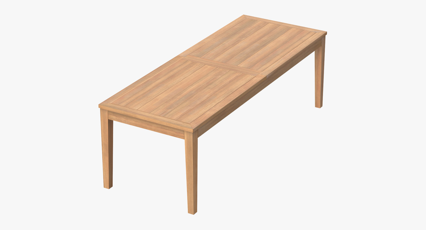 Patio dining table rectangle c4d for Dining table to seat 20