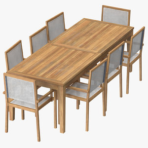 3d patio dining table rectangle
