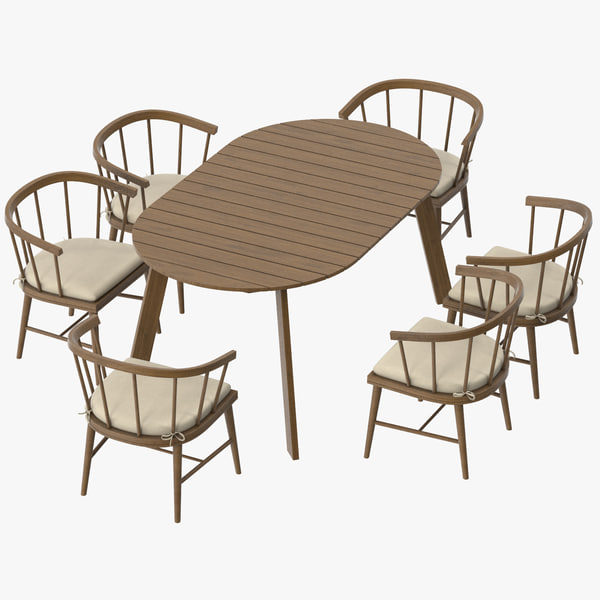 3d model patio table 6 chairs