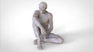 3d obj statue man sitting