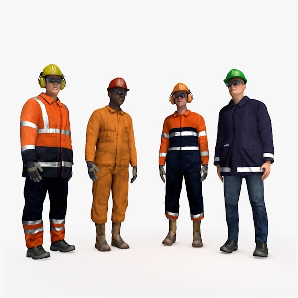 3d workers rig people man model