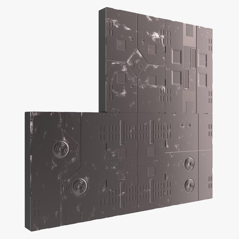 3d model sci-fi anodized panels set