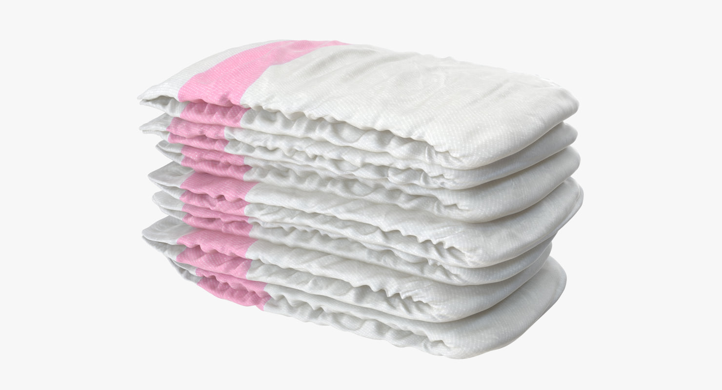 3d model diapers pink