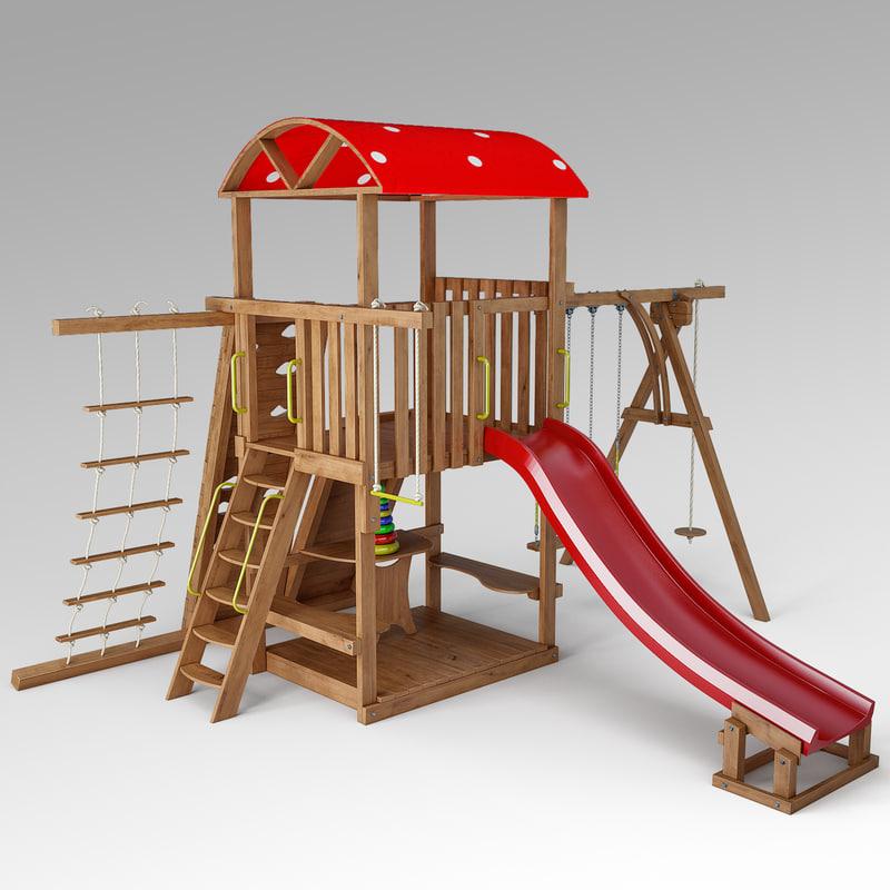 3d model children slide mushroom