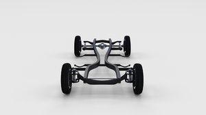 3d mercedes 190sl chassis model