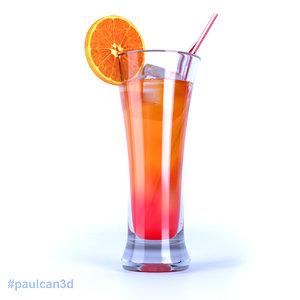 cocktail tequila sunrise 3d model