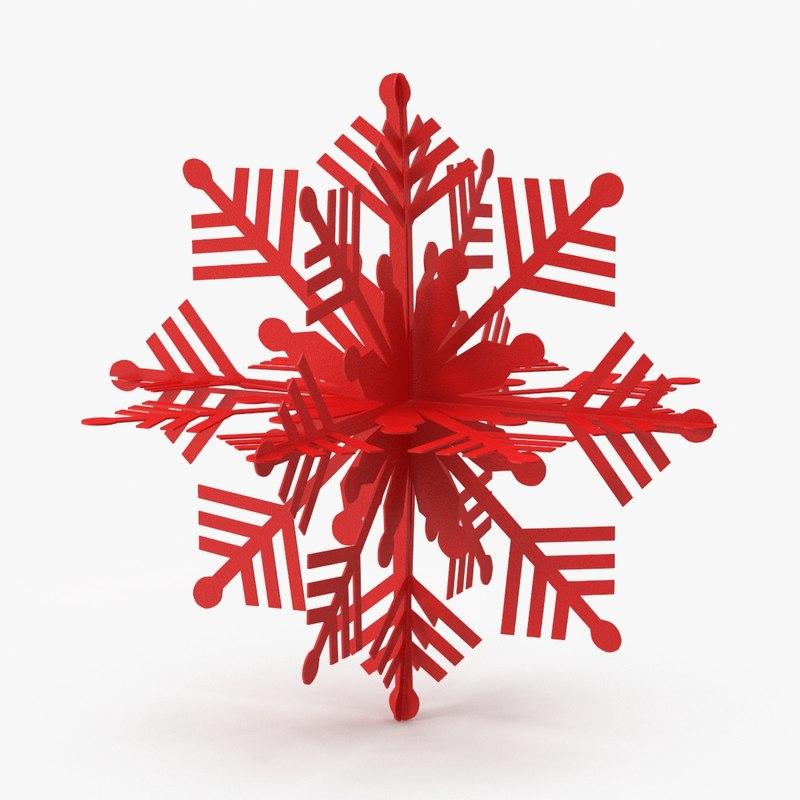 red decorative snowflake 3d model