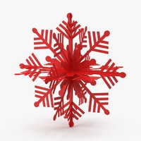 red decorative snowflake 3d model