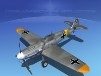 3d messerschmitt bf-109 fighter
