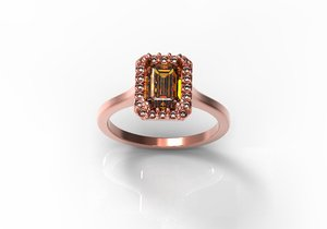 petite emerald cut ring 3d model