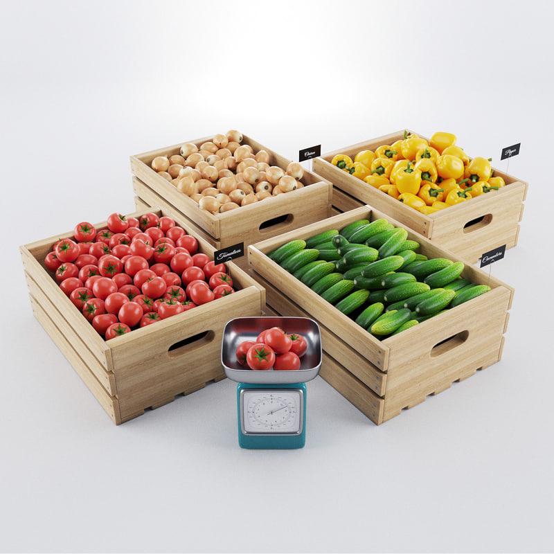 vegetables boxes 3d model