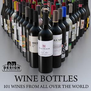 3d wine bottles-101 world bottles