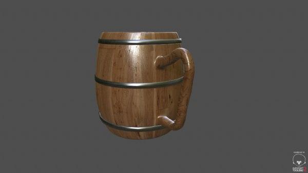 barrel mug 3d obj