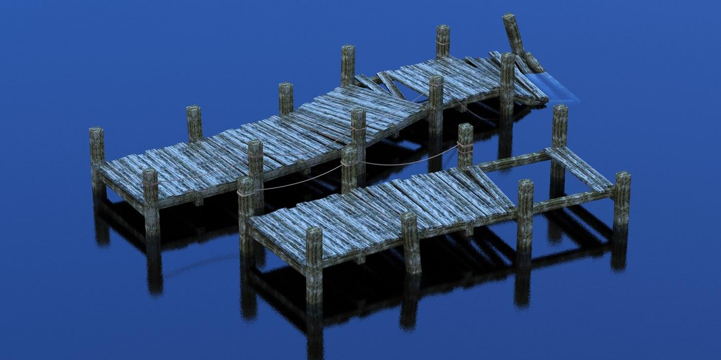 realistic wooden pier 3d max