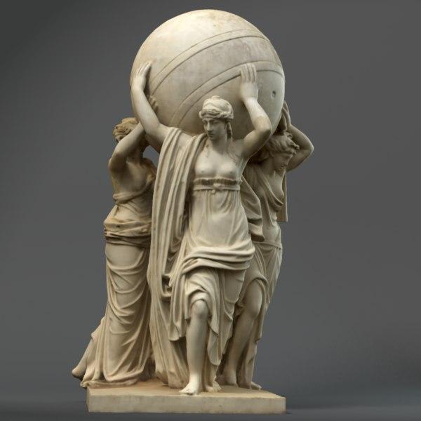 obj statue caryatids