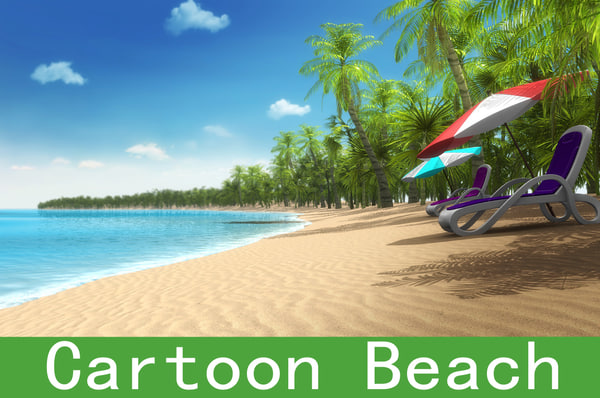 3d beach cartoon model