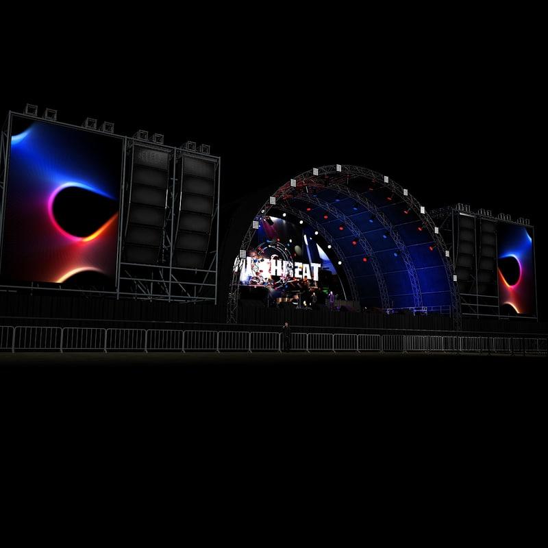 scene live stage lights 3d max
