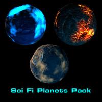 3d ski fi planets pack