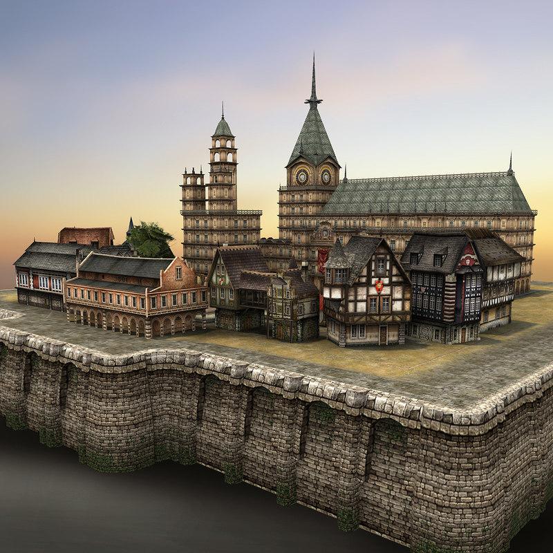 3d model medieval village ready