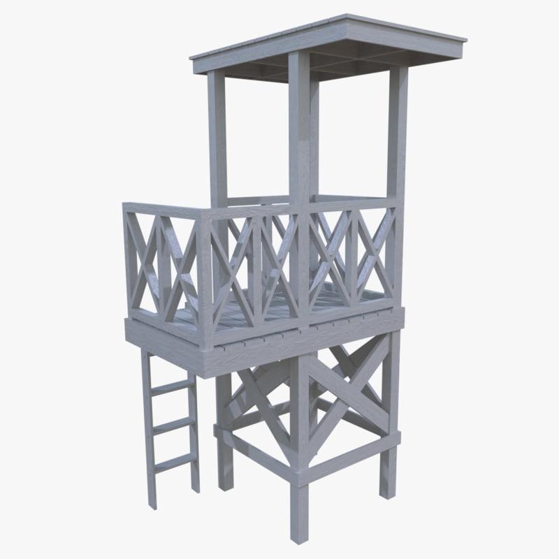lifeguard tower 3d 3ds