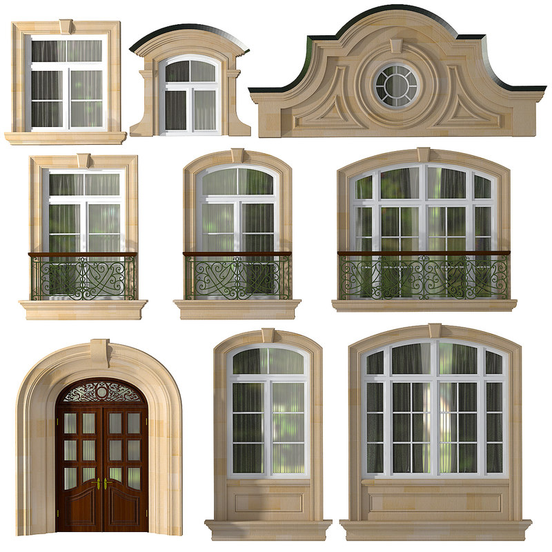 3d max doors windows style modern for Window 3d model