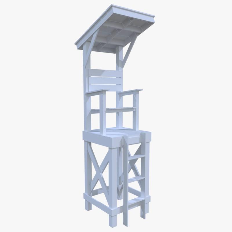 3dsmax lifeguard tower