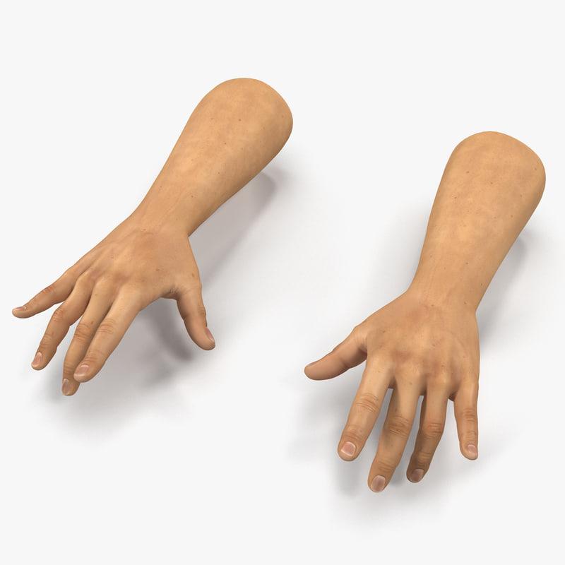 man hands 2 pose 3ds