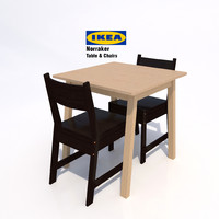 ikea norraker chairs table 3d model