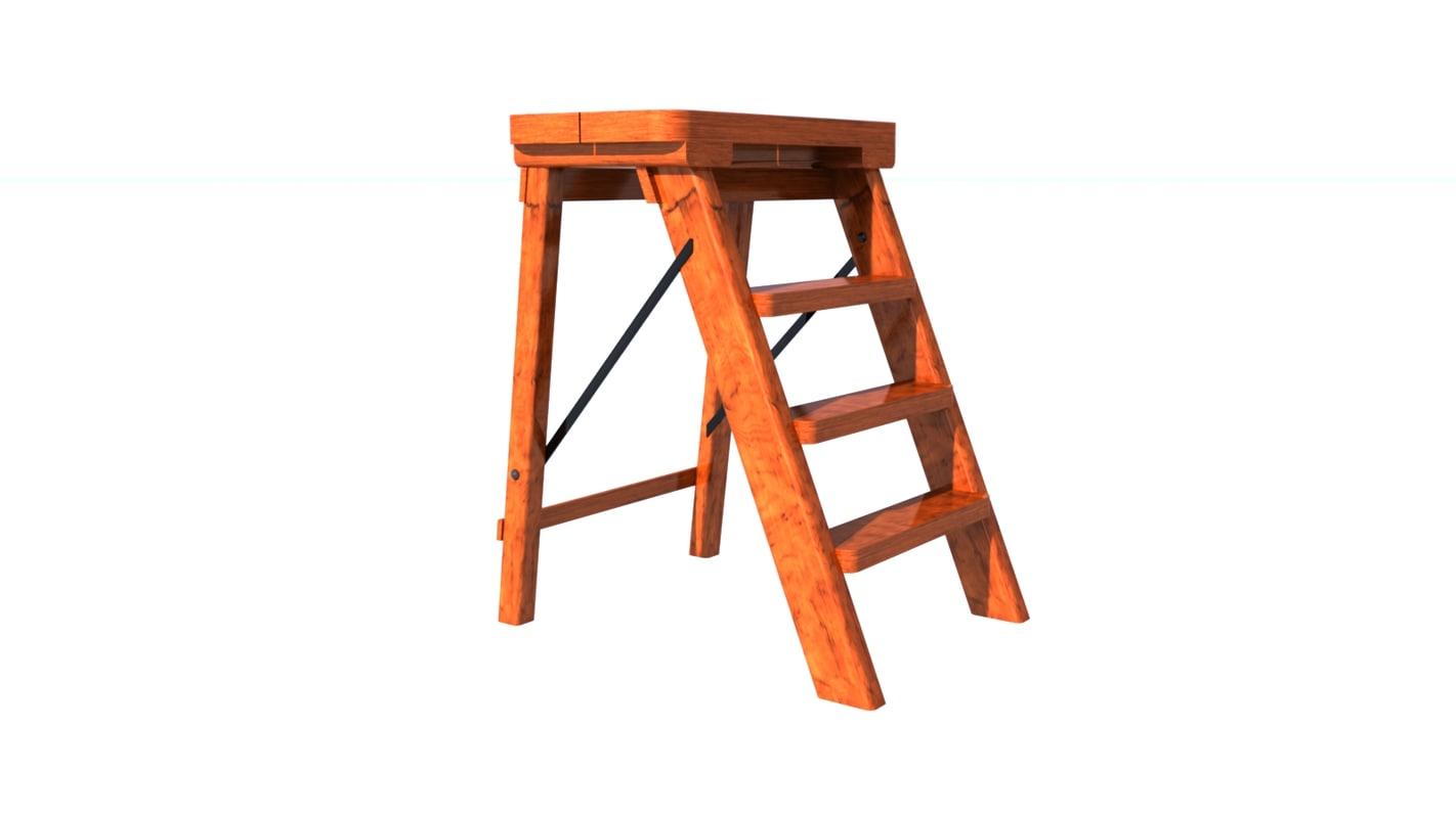 ladder wood 3d obj