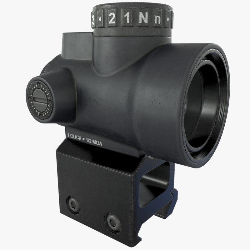 mro red dot sight 3d max