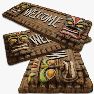 painted tiki wood welcome 3d obj