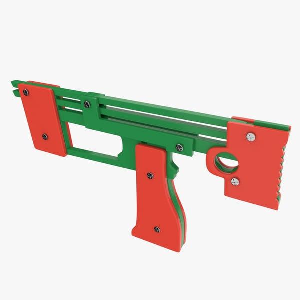 3d model rubber band gun