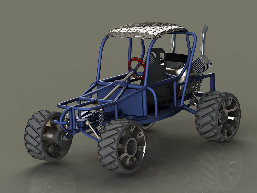 3d homemade blue buggy car model