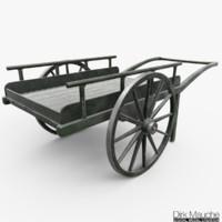 3d wooden cart model
