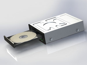 3d compact disk drive open model
