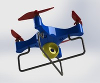 The aircraft multicolored plastic with four propellers and video camera