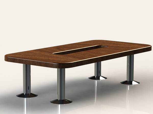 free obj model large wooden office desk