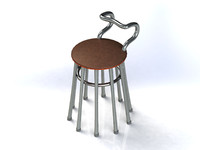 obj chair iron nickel-plated legs