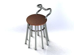 obj chair iron nickel-plated legs