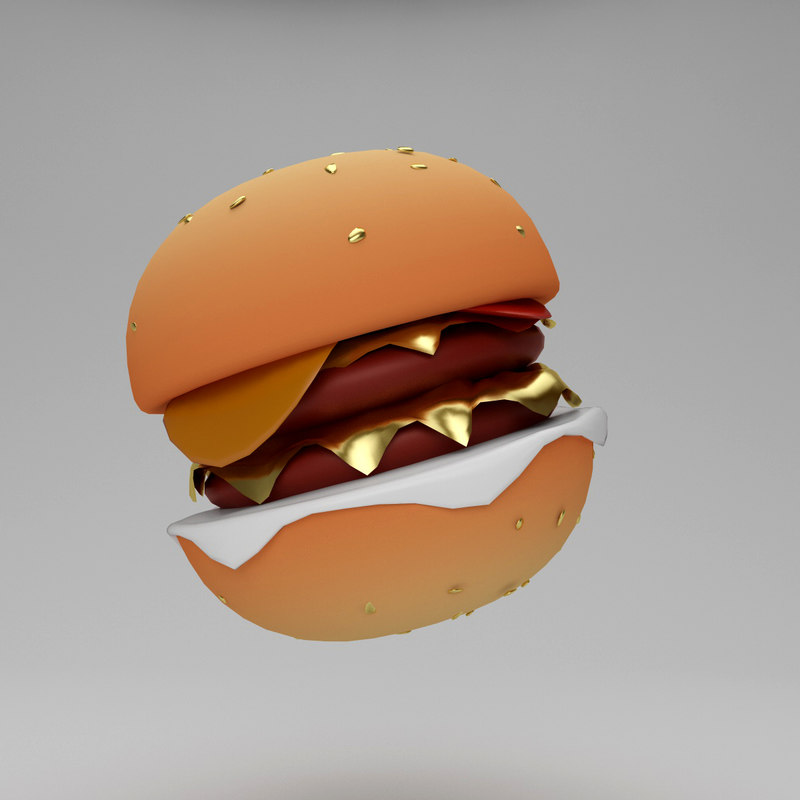 burger hamburger cartoon 3d model